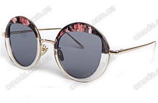 Солнцезащитные зеркальные очки круглой формы , роговая оправа