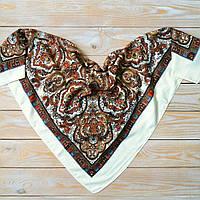 Женский платок с орнаментом (80х80см, шампань, 80%-шерсть) , фото 1