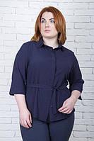 Офисная темно-синяя блуза большого размера БАНТ ТМ Ирмана 50-56 размеры