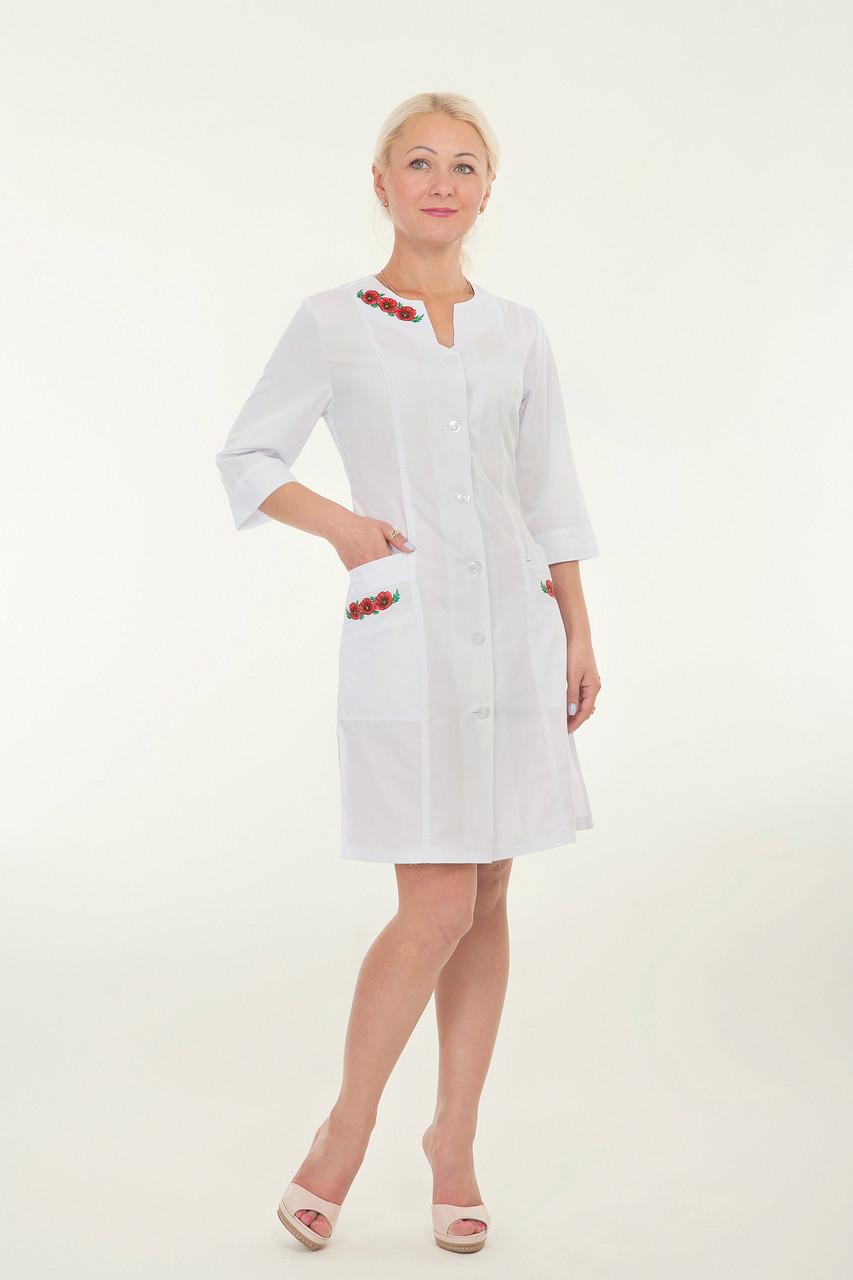 Халат белый медицинский с вышивкой маки