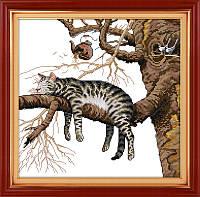 Ленивый кот  Набор для вышивки крестом канва 14 ст