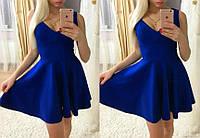 Летнее платье из дайвинга в синем цвете