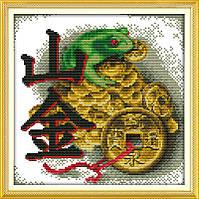 Денежная лягушка  Набор для вышивки крестом канва 14 ст