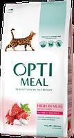 Optimeal для взрослых кошек с телятиной 10кг