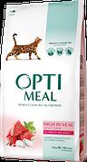 Optimeal Оптимил для взрослых кошек с телятиной 10кг
