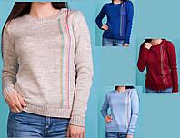 Джемпер с вертикальными полосками. Теплый вязанный женский джемпер. Вязанный женский свитер с полосками