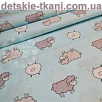 Ткань хлопковая с серыми овечками на голубом  фоне (№ 783а)