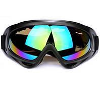 Горнолыжная маска Унисекс, 5 цветов, цвет корпуса чёрный.Радужное стекло.