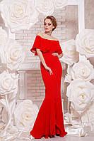 Женское красивое красное платье в пол с воланом