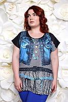 Женская летняя футболка с принтом ЖИЛЕТ ДЖИНС ТМ Ирмана 54-60 размеры