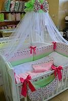 """Полный комплект в детскую кроватку""""Розочки и minky"""" в стиле шебби - шик"""