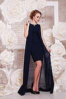 Красивое короткое женское платье с накидкой без рукав