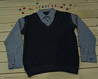 Стильная рубашка -обманка  для мальчика на рост 128-164