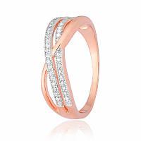 Серебряное кольцо позолоченное с фианитом КК3Ф/202 - 17,8