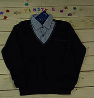 Стильная рубашка -обманка  для мальчика рост 110-128 см