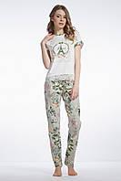 Піжама жіноча штани в оливковому відтінку в квіти та футболка з мереживом,  95% бавовна,  ELLEN,  LNP 074/001