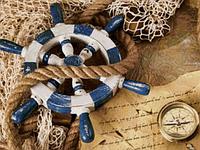 Набор для рисования камнями Капитанский штурвал DM-049 (40 х 30 см) ТМ Алмазная мозаика