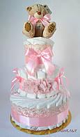 Торт из памперсов с украшением на голову и мишкой. 70 штук.