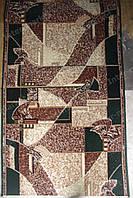Килимова доріжка зелено-коричнева мозаїка