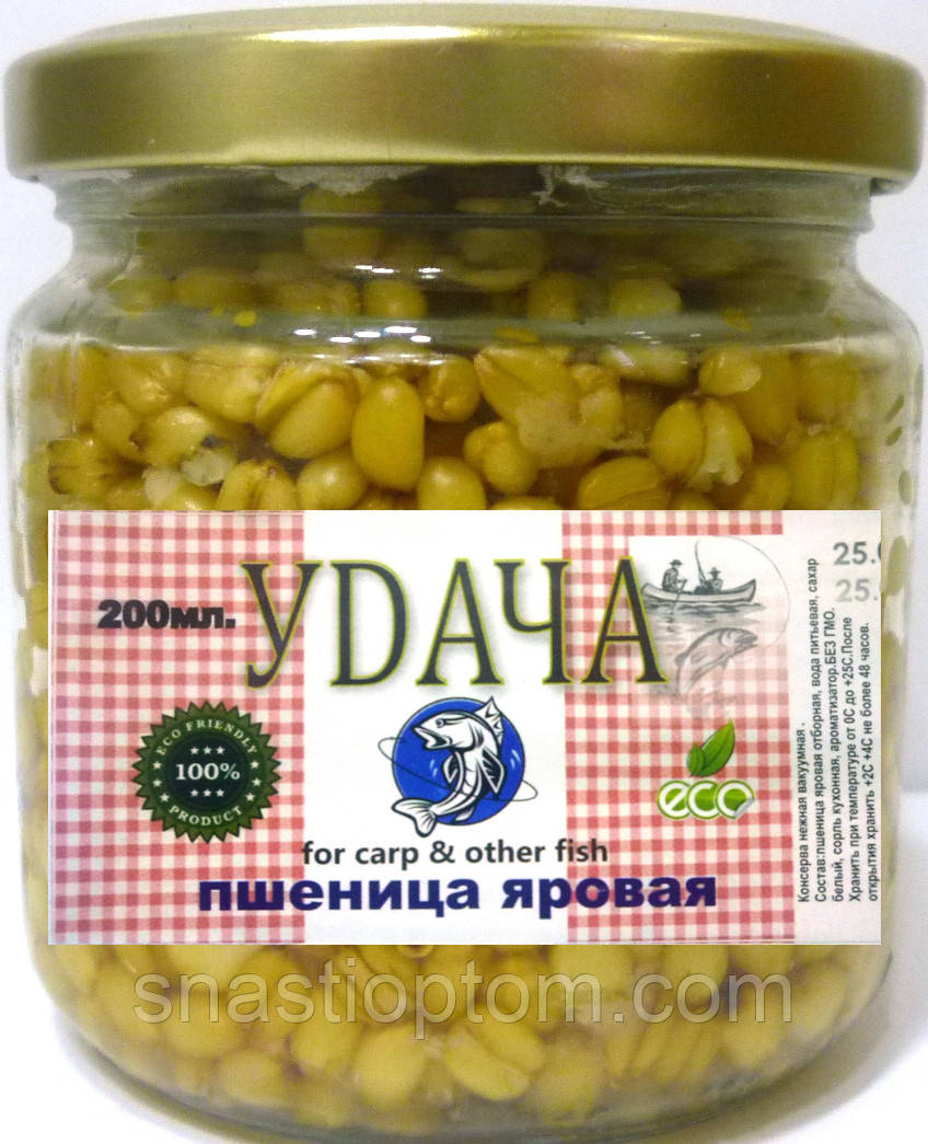 Наживка для рыбалки Пшеница яровая УDАЧА, Клубника, 200мл