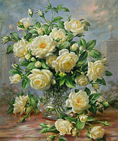 Алмазная вышивка Букет белых роз DM-055 (50 х 60 см) ТМ Алмазная мозаика