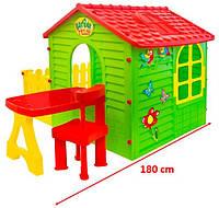Детский  домик  MOCHTOYS с терасой+столик и кресло