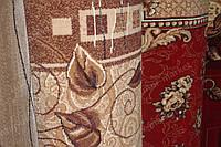 Килимова доріжка листя/троянди коричнева/червона
