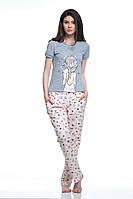 Піжама жіноча футболка з дівчинкою та штани в зірки ELLEN, LNP 084/001