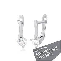 Серебряные серьги с цирконием SWAROWSKI ZIRCONIA С2С/091А