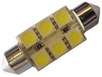 Светодиодная автолампа Cristal 35мм 6 LED 5050SMD белая
