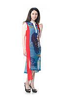 Летнее турецкое платье синее с красной полосой