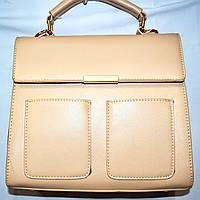 Женская сумка портфель Люкс бежевая