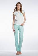 Піжама жіноча довгі штани мятного відтінку в горошок та футболка ELLEN, LNP 071/001