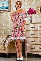 женское летнее шифоновое платье свободного кроя + большой размер