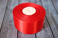 Атласная лента 5 см, 36 ярд (около 33 м), красного цвета оптом