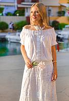 Белая блузка с кружевом Мэлани