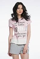 Пижама для женщин, комплект для сна, шорты и футболка , 95% хлопок, ELLEN,  LNP 086/001