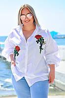 Рубашка женская в большом размере в стиле оверсайз , фото 1