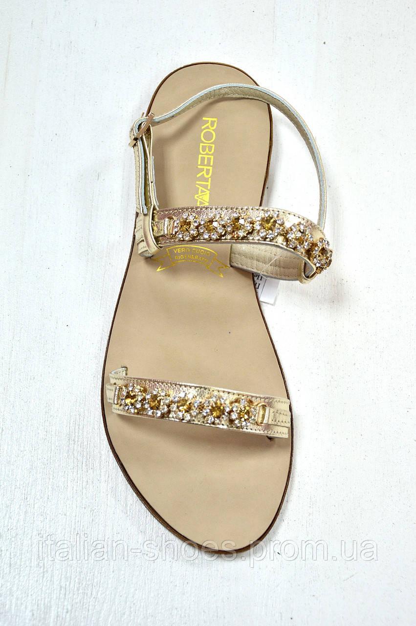 Кожаные сандалии с янтарными камнями