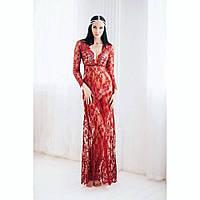 Кружевное полупрозрачное платье для фотосессий Марсала