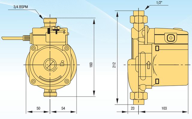 Насос для повышения давления Optima PTS 15–11 габаритные размеры