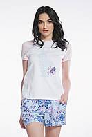 Пижама для женщин, комплект для сна, шорты и футболка c зайчиком , 95% хлопок, ELLEN,  LNP 075/001