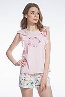 Пижама для женщин, комплект для сна, шорты и майка , 95% хлопок, ELLEN, LNP 067/001