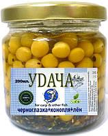 Рыболовная наживка Горох Черноглазка + Семена конопли и льна, Удача, Натур, 200мл