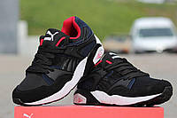 Кроссовки Puma Trinomic (черные с синим) замшевые кроссовки пума, кроссовки Puma