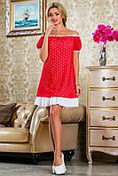 женское летнее красное платье свободного кроя + большой размер