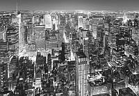 Фотообои бумажные на стену 366х254 см 8 листов: ночной город, черно-белый  Нью-Йорк
