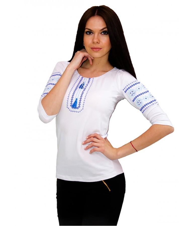 Вишита біла жіноча сорочка. Вишиті футболки. Сучасні вишиванки. Жіночі вишиванки., фото 1