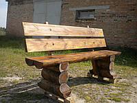 Скамейка с широкой спинкой со сруба