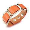 Кожаный браслет широкий женский, цвет оранжевый